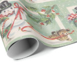 """Vintage Christmas snowman Holiday party wrap Wrapping Paper<br><div class=""""desc"""">design by www.etsy.com/Shop/HeartlandMix</div>"""