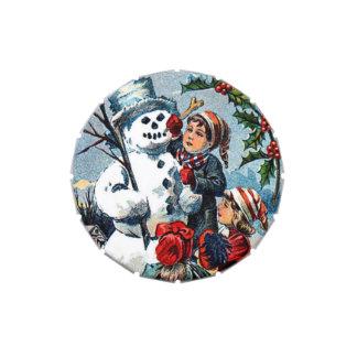 Vintage Christmas Snowman Jelly Belly Tin