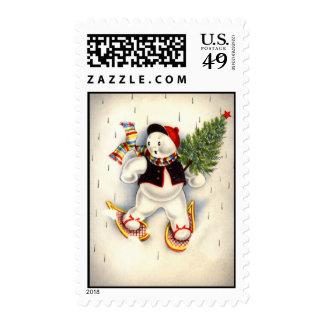 Vintage Christmas Snowman Postage Stamp