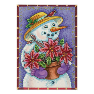 Vintage Christmas Snowman Poster