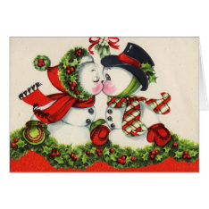 Vintage Christmas Snowpeople Kiss Card at Zazzle