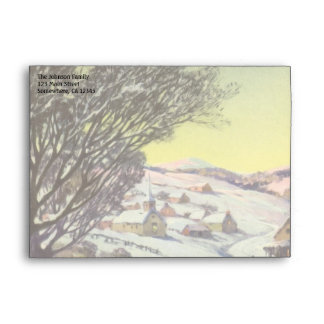Vintage Christmas, Snowscape with Frozen Lake Envelope