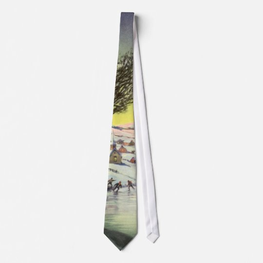 Vintage Christmas, Snowscape with Frozen Lake Tie