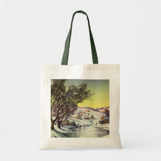 Vintage Christmas, Snowscape with Frozen Lake Tote Bag