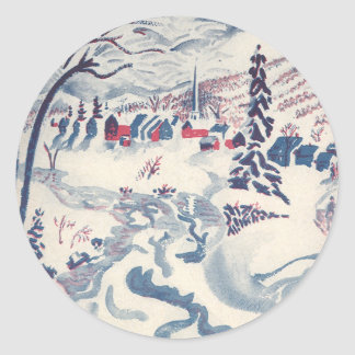 Vintage Christmas, Snowscape with Winter Village Classic Round Sticker