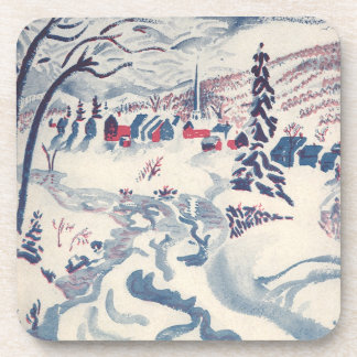 Vintage Christmas, Snowscape with Winter Village Coaster