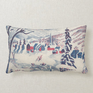 Vintage Christmas, Snowscape with Winter Village Lumbar Pillow