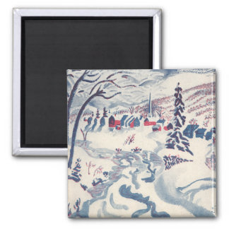 Vintage Christmas, Snowscape with Winter Village Magnet