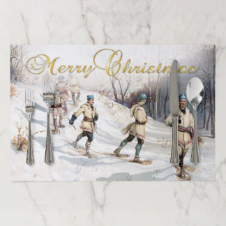 Vintage Christmas Snowshoeing Painting Paper Placemat