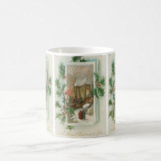 Vintage Christmas Snowy Church Classic White Coffee Mug
