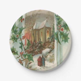 Vintage Christmas Snowy Church Paper Plate