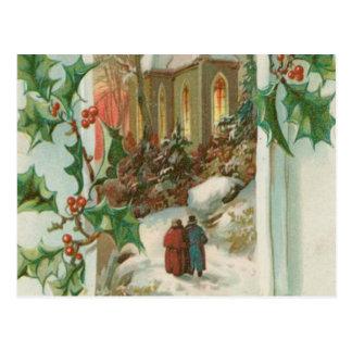 Vintage Christmas Snowy Church Postcard