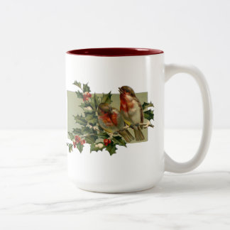 Vintage Christmas Songbirds and Holly Mugs