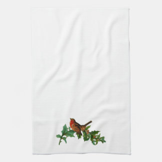 Vintage Christmas Songbirds and Holly Towel