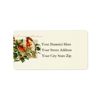 Vintage Christmas Songbirds Personalized Address Labels