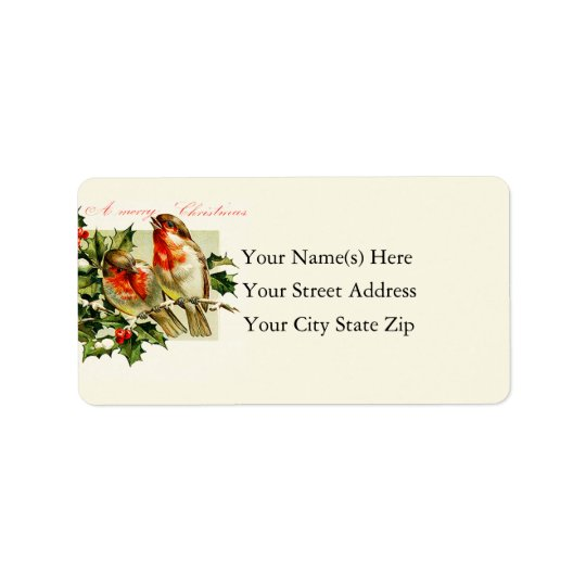 Vintage Christmas Songbirds Label