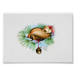 vintage christmas squirrel dreaming poster