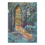 Vintage Christmas, Stained Glass Window in Church Personalized Invitations