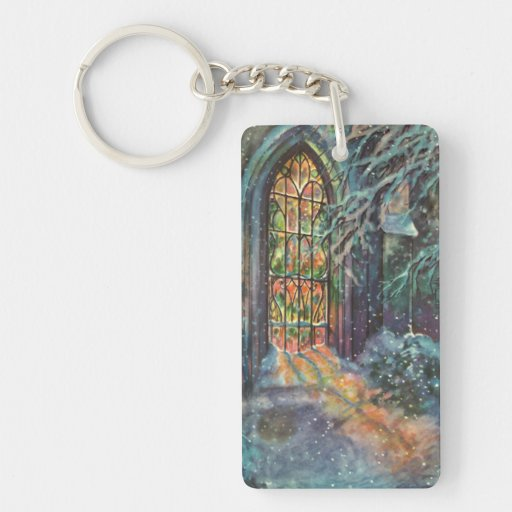 Vintage Christmas, Stained Glass Window in Church Acrylic Keychain