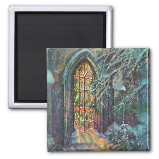 Vintage Christmas, Stained Glass Window in Church Magnet