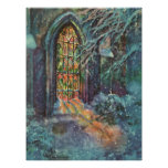 Vintage Christmas, Stained Glass Window in Church Poster