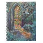 Vintage Christmas, Stained Glass Window in Church Spiral Notebooks