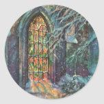Vintage Christmas, Stained Glass Window in Church Round Stickers