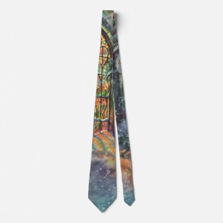 Vintage Christmas, Stained Glass Window in Church Tie