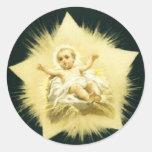 Vintage *Christmas Star * Baby Jesus Design Round Sticker