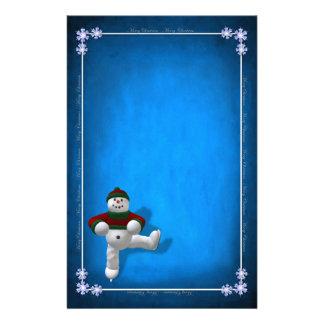 Vintage Christmas Stationery: Skating Snowman Stationery