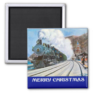 Vintage Christmas,  Steam train at the Station Magnet