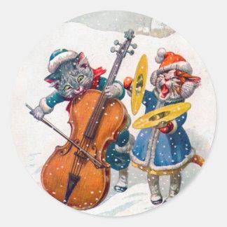 Vintage Christmas Sticker, Arthur Thiele Cats Classic Round Sticker