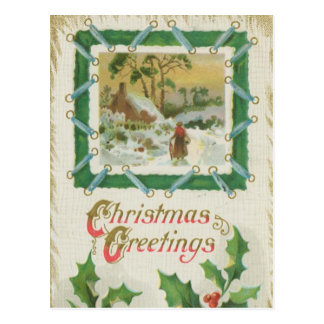 Vintage Christmas Stitching and Christmas Greeting Postcard
