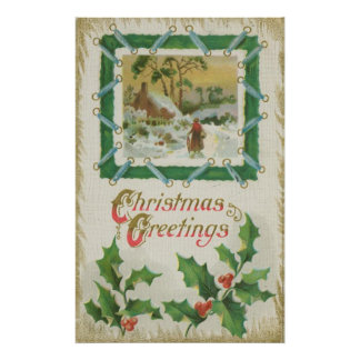 Vintage Christmas Stitching and Christmas Greeting Poster