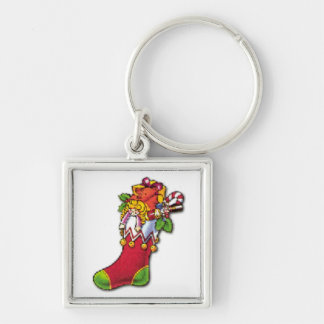 Vintage Christmas Stocking Full of Toys Key Chain