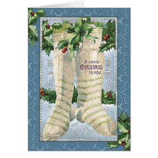 Vintage Christmas Stocking Greeting Card