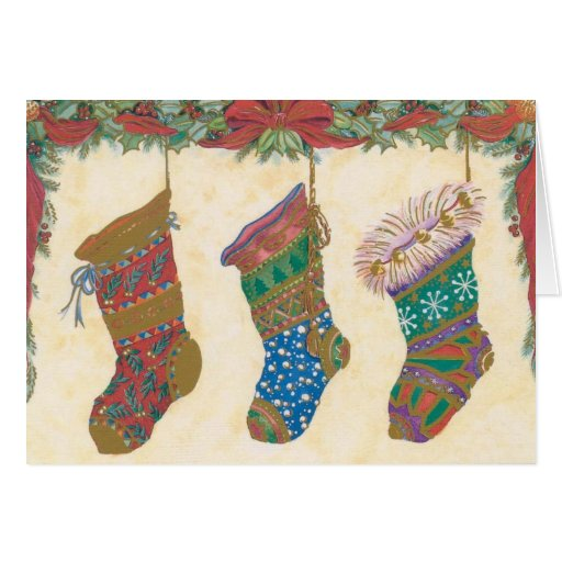 Vintage Christmas Stockings Card Zazzle