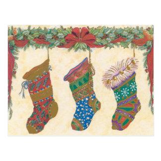 Vintage Christmas Stockings Postcard