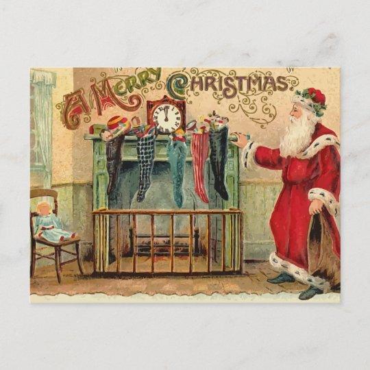 Vintage Christmas Stockings.Vintage Christmas Stockings Postcard