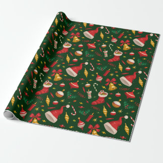 Vintage Christmas Stylish Santa Hat Wrapping Paper
