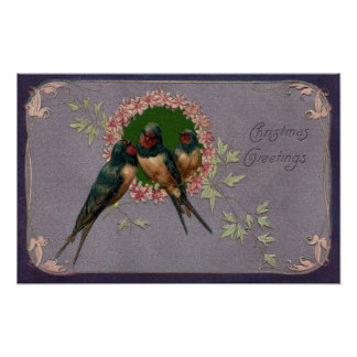Vintage Christmas Swallows Poster