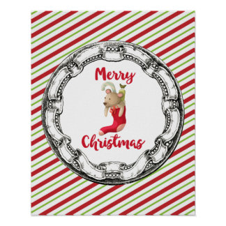 Vintage Christmas Teddy Bear On A Striped Pattern Poster