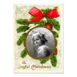 Vintage Christmas Template Flat Card Personalized Announcement