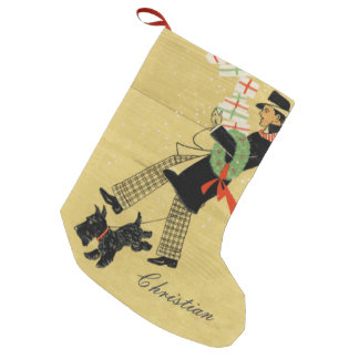 Vintage Christmas Terrier Dog And Man Personalized Small Christmas Stocking