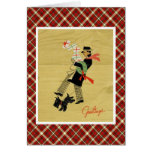Vintage Christmas Terrier Dog And Man With Gifts Greeting Cards