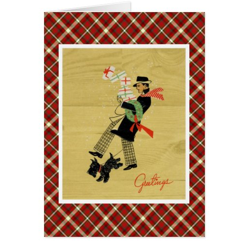Vintage Christmas Terrier Dog And Man With Gifts Greeting Card