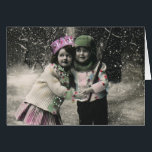 """Vintage Christmas Thank You Card<br><div class=""""desc"""">Vintage photo of two children on skies on Christmas Day.</div>"""