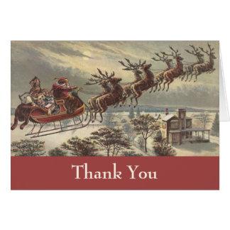 Vintage Christmas Thank You Greeting Card