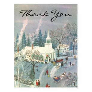 Retro Christmas Thank You Cards Zazzle