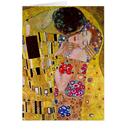 Vintage Christmas, The Kiss by Gustav Klimt Greeting Card